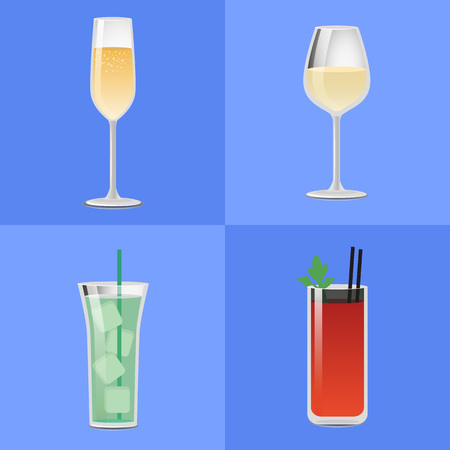 Set Alcohol Drinks Fizzy Champagne Glass of Wine