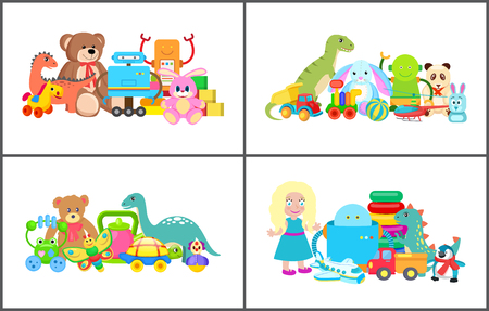 Doll and Teddy Bear Collection Vector Illustration Illustration