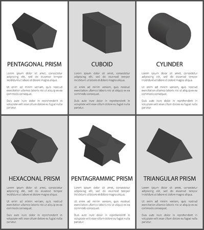 Pentagrammic Pentagonal and Hexagonal Prisms Set 일러스트