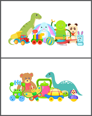 Robot and Frog Collection Vector Illustration