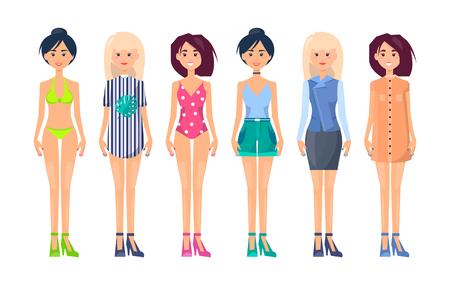 Summer Vogue Apparel on Pretty Slim Girls Fashion Banque d'images - 102736389
