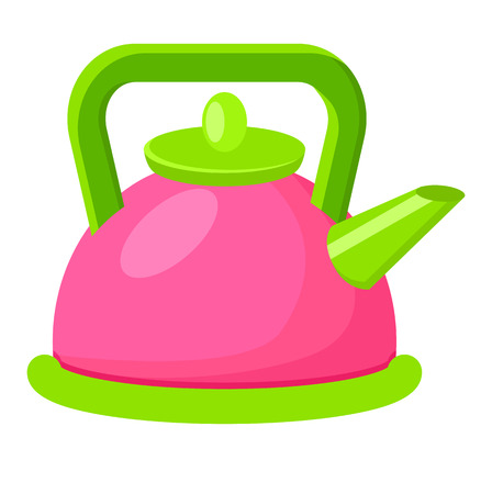 Cartoon Style Colorful Kettle Vector Illustration  イラスト・ベクター素材