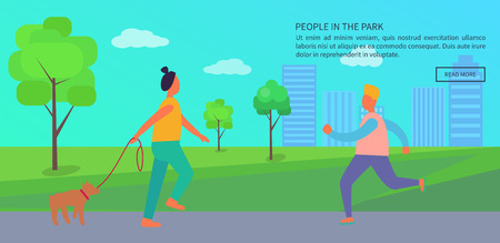 People Spending Time in Park Poster with Text Illustration