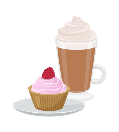 Set of Cute Cupcake and Latte Vector Illustration