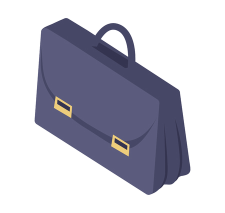 Black Leather Briefcase with Handle Metal Clasp Иллюстрация