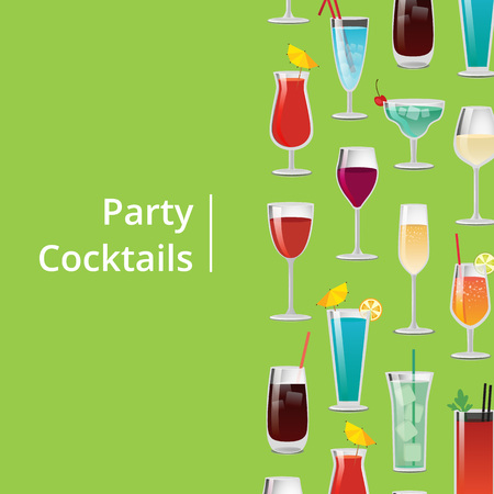 Party Cocktails Poster with Different Long Drinks