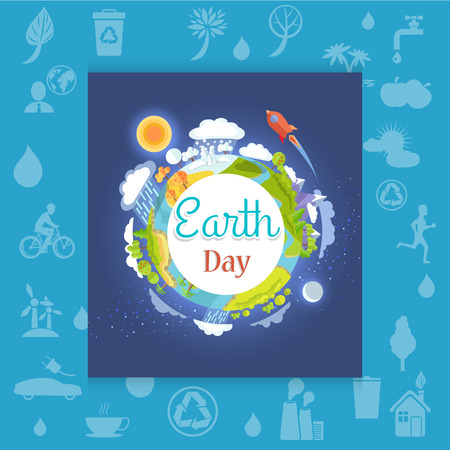 Earth Day Poster with Different Seasons
