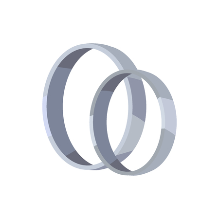 Pair of Silver or Platinum Wedding Rings Vector