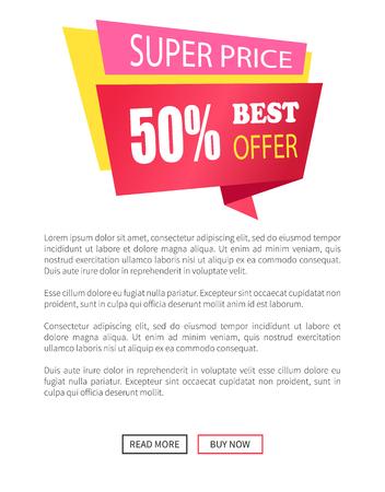 Super Price 50 Off Best Offer Emblem Label Vector