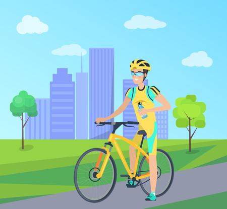 Happy Sportsman with Blue Bottle on Yellow Bike