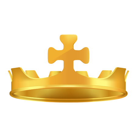 Golden Crown with Cross 3d Icon Realistic Vector  イラスト・ベクター素材
