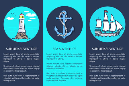 Set of Posters for Sea and Summer Adventures Ilustração