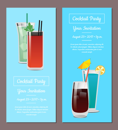 Cocktail Party Your Invitation Posters Set Mojito