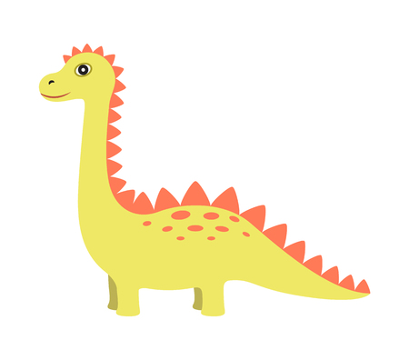 Dinosaur of Yellow Color, Vector Illustration