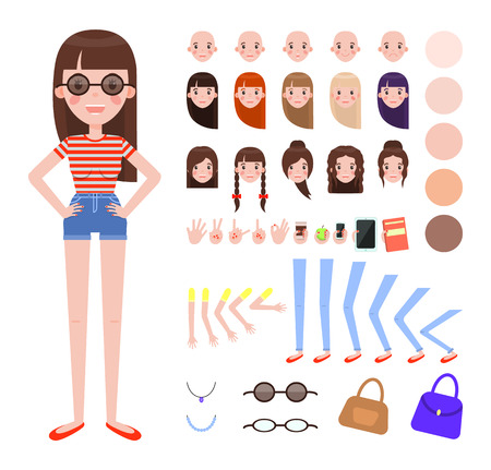 Girl in Summer Outfit and Sunglasses Constructor Illusztráció