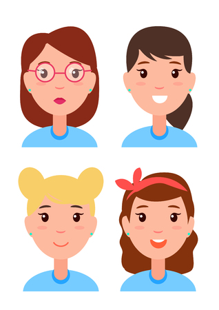 Set Women Faces, Character Constructor Hairstyles