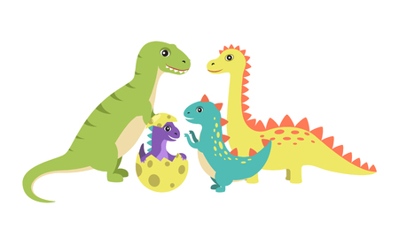 Dinosaurs Collection and Egg Vector Illustration