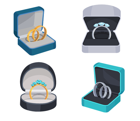 Rings with Diamonds in Opened Box Vector Icons Set
