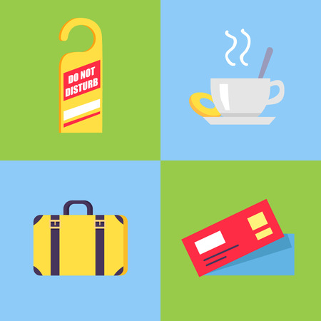 Hotel-Themed Isolated Icons on Blue and Green Ilustração