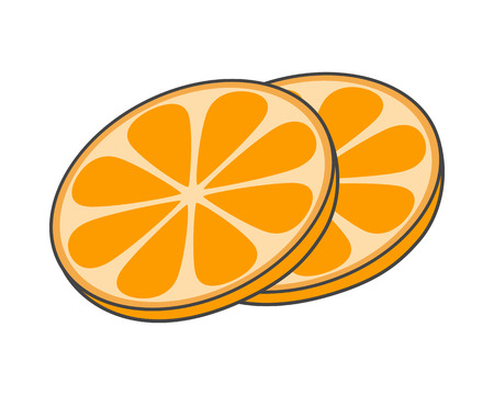 Two Slices of Orange Hand Drawn Image Fruity Icon