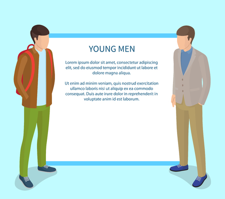Young Men Poster with Frame for Text. Students Illustration