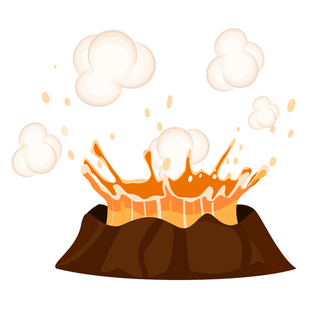 Massive Volcanic Eruption Isolated Illustration Vectores