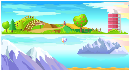 Vegetable Farm and Arctic Nature Vector Landscapes