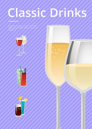 Classic Drinks Champagne Advert Poster Wine Glass Stock Illustratie