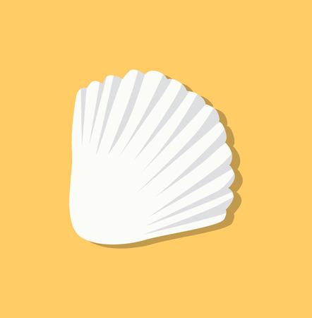 Cute White Seashell Isolated on Yellow Background Standard-Bild - 103226066