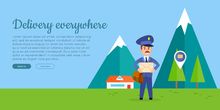 Delivery Everywhere Vector Web Banner with Postman Banco de Imagens