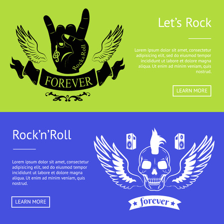 Let s Rock n Roll Collection of Colorful Banners Foto de archivo - 103226184