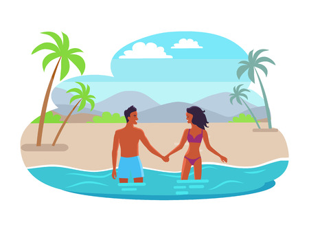 Suntanned Couples Hold Hands and Stand in Sea Stock Photo