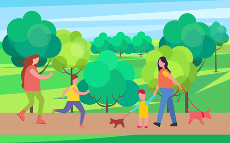 Rollerblading and Dog Walking Vector Illustration