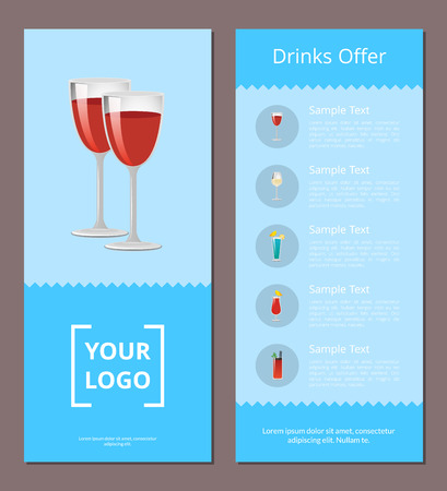 Drinks Offer Cocktails Menu Poster Pair Red Wine