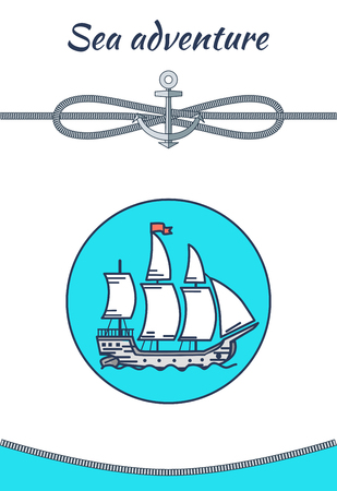 Sea Adventure Banner, Color Vector Illustration Çizim