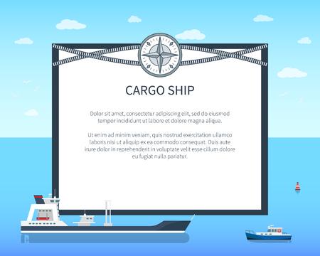 Long Cargo Ship Colorful Card Vector Illustration Illustration