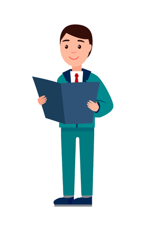 Businessman Reading Papers Vector Illustration