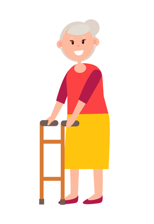 Friendly Grandmother with Grey Hair and Walker Illustration