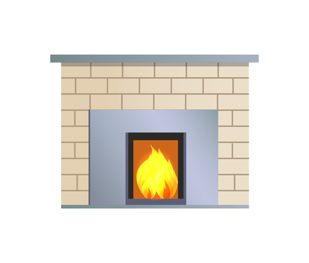 Abstract Vector Fireplace, Colorful Illustration