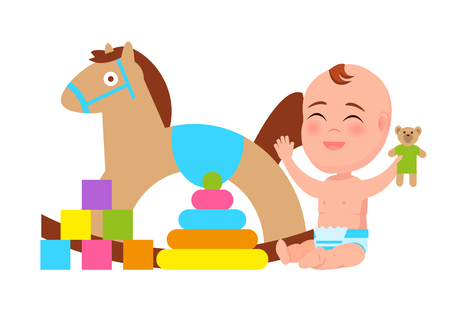 Happy Baby Play with Rocking Horse, Color Blocks Illustration