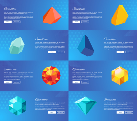 Gemstone Geological Precious Stones Vector Set Ilustrace