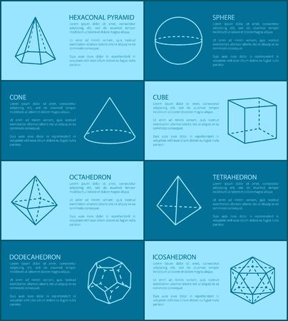 Hexagonal Pyramid and Shapes Vector Illustration Illustration
