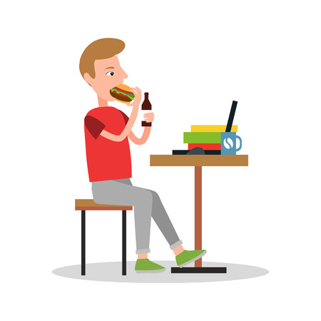 Eating and Drinking Worker Vector Illustration