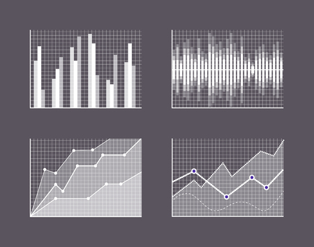 Charts Visualisation Poster Vector Illustration