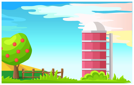 Rural Landscape with Granary Cartoon Vector Illustration
