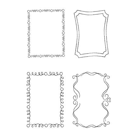 Rectangular Hand Drawn Ornate Frames Vector Set  イラスト・ベクター素材