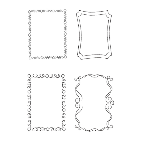 Rectangular Hand Drawn Ornate Frames Vector Set Illustration