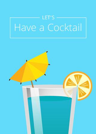 Lets Have Cocktail Summer Party Promo Poster Drink Illustration