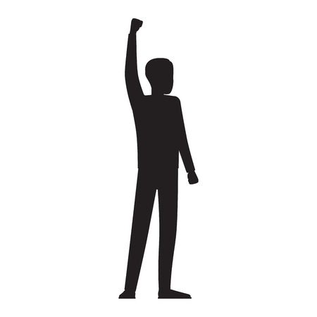 Man Silhouette with Red Streamer Illustration