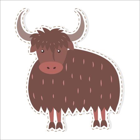 Cute Yak Cartoon Flat Vector Sticker or Icon